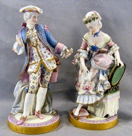 "28J: Pair of fine bisque 15"" porcelain figurines, intri"