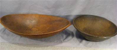 90H 2 pieces of antique wooden ware oval trencher 24