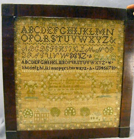 "116H: Needlework sampler, overall size framed 20"" X 21"""