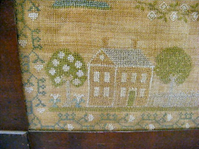 "116H: Needlework sampler, overall size framed 20"" X 21"" - 3"