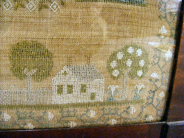 "116H: Needlework sampler, overall size framed 20"" X 21"" - 4"
