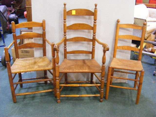 3 antique ladder back chairs rush seats 2 arms
