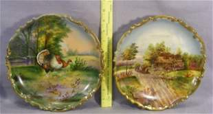 Pair of Austrian hand painted porcelain wall plaque