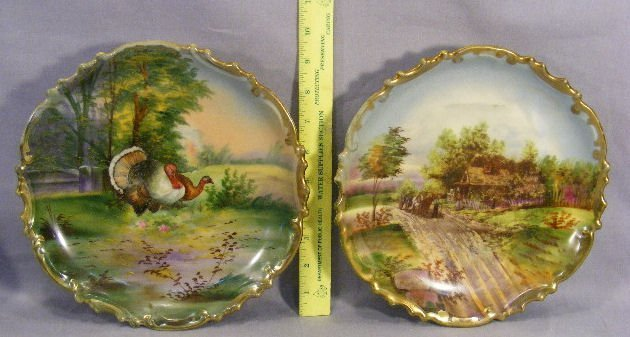 7A: Pair of Austrian hand painted porcelain wall plaque