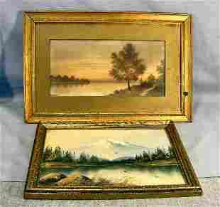 """Oil painting on cardboard 12"""" X 8"""" signed Newton an"""