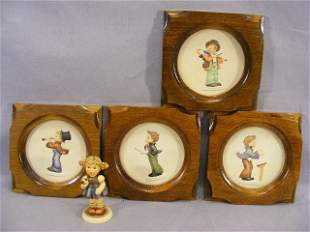 """Lot including four Hummel 4"""" plaques and figurine"""