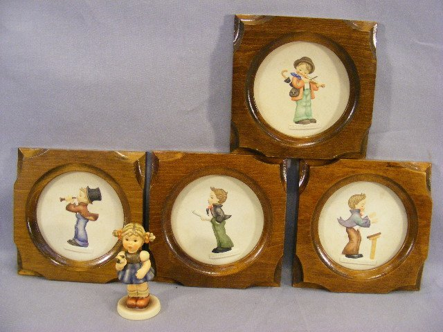"""10A: Lot including four Hummel 4"""" plaques and figurine"""