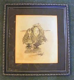 163W: 1946 Salvador Dali drawing, graphite & watercolor