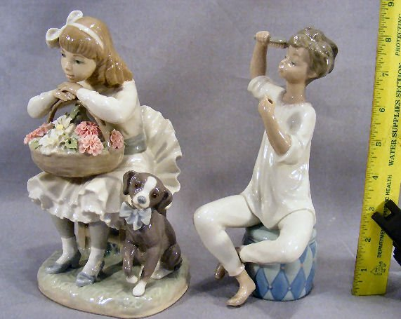 1X: Two Lladro figurines, girl with dog & flower basket