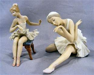 Two Lladro ballerina figurines, large bisque in exc