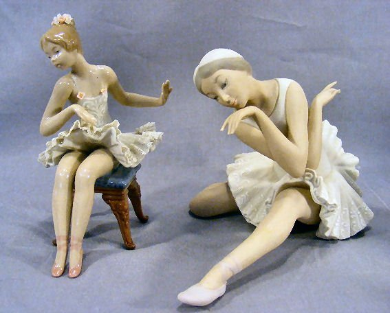 2X: Two Lladro ballerina figurines, large bisque in exc