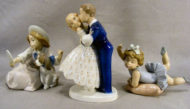 3X: Two Lladro figurines of children and Bing & Grondah