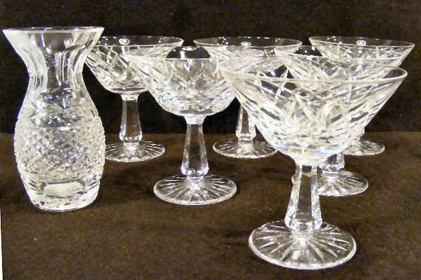 """4L: Set of 6 Waterford crystal 4.75"""" champagnes/tall sh"""