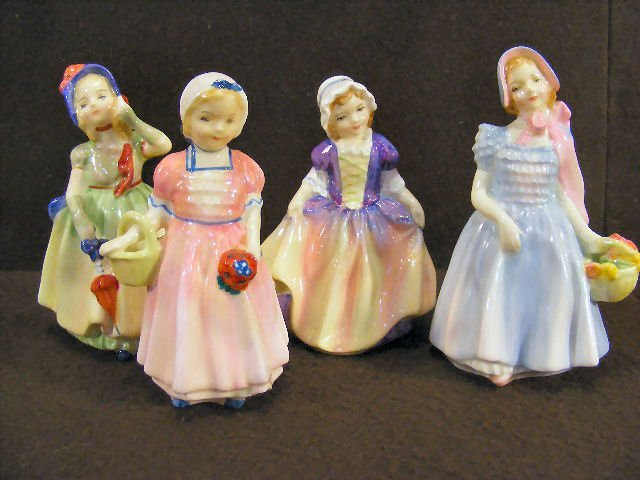 """5X: Lot of four Royal Doulton figurines, 4"""" - 4.5"""" high"""