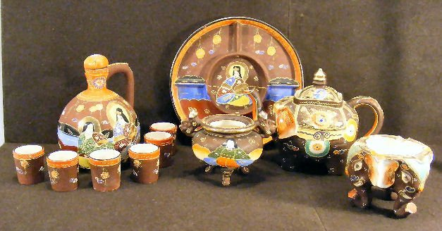 """7L: Lot of pottery """"Made in Japan"""", elephant teapot, el"""