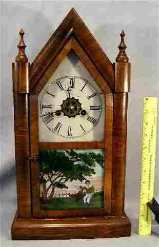 Steeple alarm clock, Forestville, Ct., case in ver