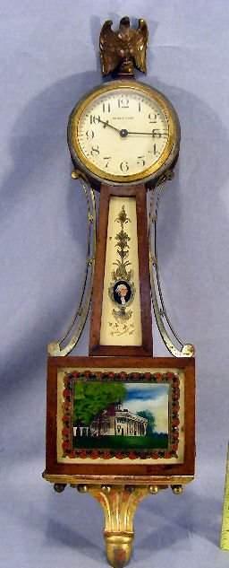 "Miniature Waltham Mt. Vernon banjo clock, 20"" long"