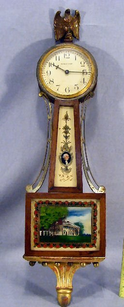 """12L: Miniature Waltham Mt. Vernon banjo clock, 20"""" long"""