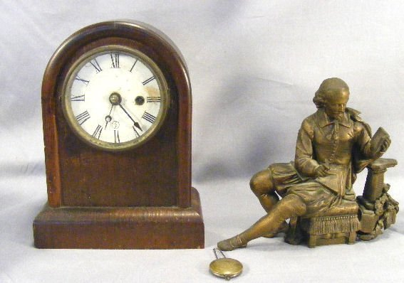 13L: E.N. Welch clock and heavy white metal Shakespeare