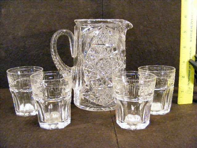 """16L: Signed Hawkes cut glass pitcher 5.5"""" high with Haw"""
