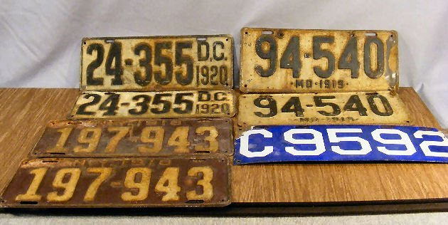 20L: Lot of early 20th century license/marker plates