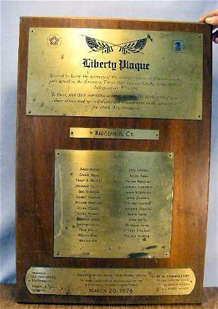Bicentennial plaque, engraved on brass mounted on