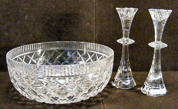 "26X: Waterford crystal 10"" center bowl and pair of Wate"