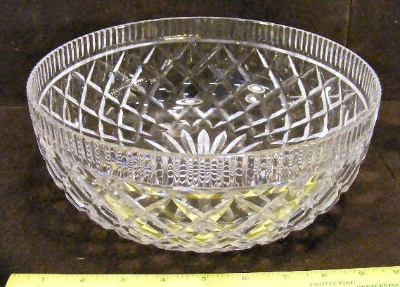 "26X: Waterford crystal 10"" center bowl and pair of Wate - 3"