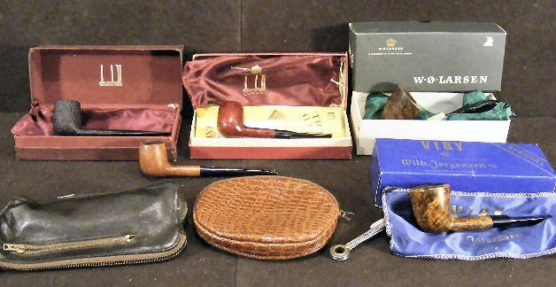 48X: Lot including 3 Dunhill tobacco pipes, two with bo