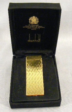49X: Dunhill gold plated cigarette lighter, unused, no