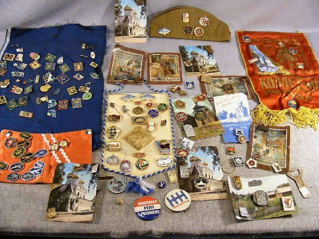 50Y: Large lot of medals & pins, most are Russian Sovie