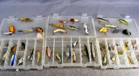 Lot Of 46 Estate Fishing Lures, Varied Ages