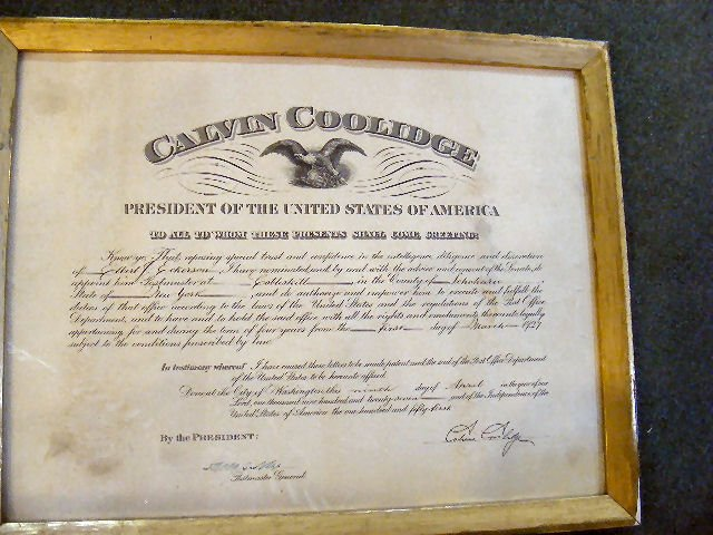 55S: Signed Calvin Coolidge appointment of  Elbert J. E
