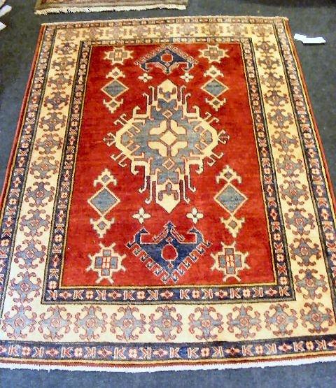 """59P: Oriental rug, Uzbek Kazak, 4' X 5'6"""""""
