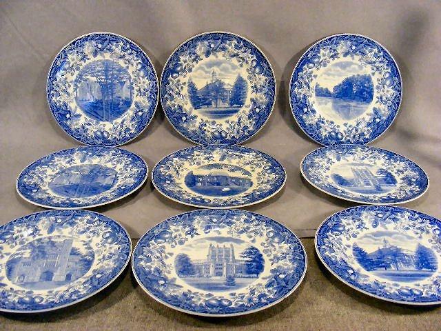 """66D: Nine Wedgwood Vassar College 10.5"""" plates, last tw"""