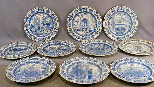 """67D: Ten Wedgwood Yale College plates, 10.5"""", no chips"""