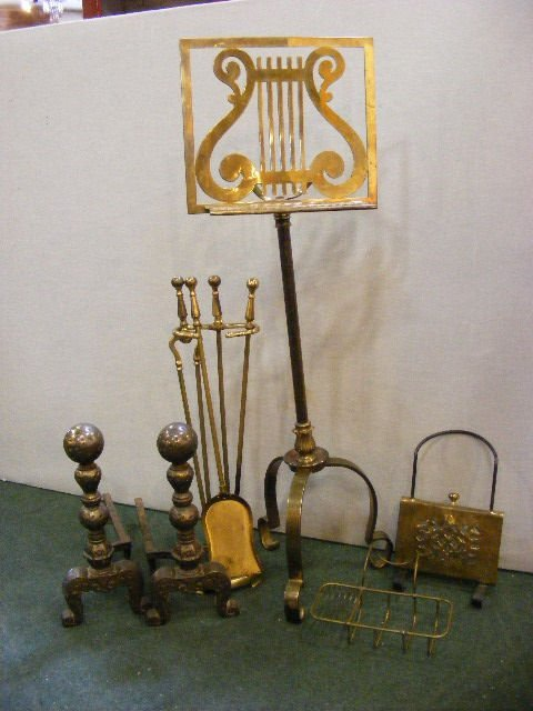 69X: Brass music stand, brass fireplace tools, brass tu