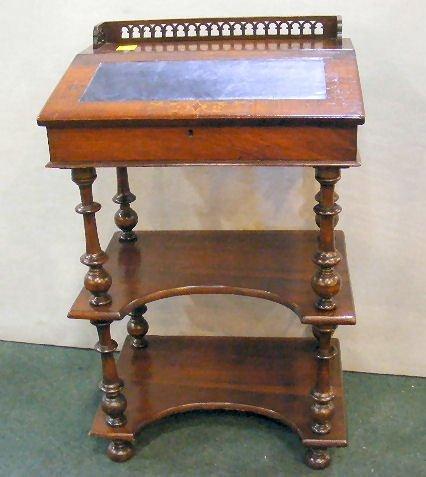 "70X: Victorian inlaid writing desk, 35"" high, 22"" wide"