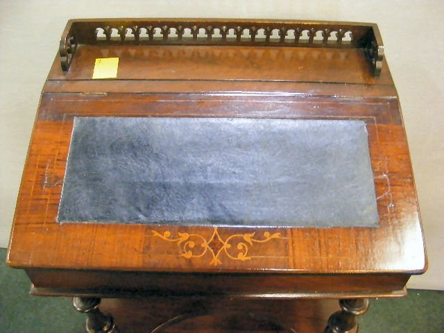 "70X: Victorian inlaid writing desk, 35"" high, 22"" wide  - 2"