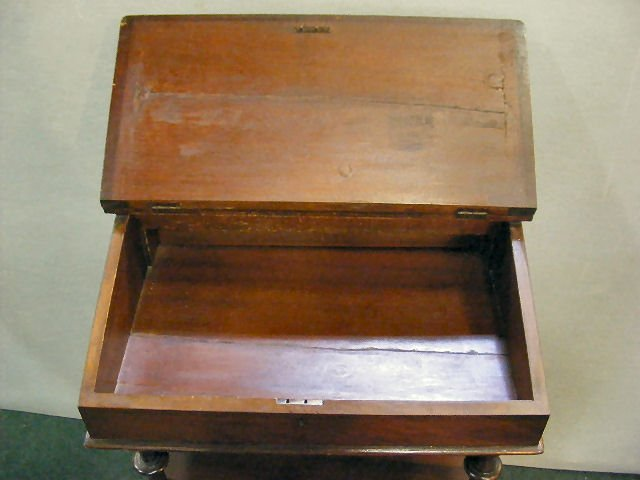 "70X: Victorian inlaid writing desk, 35"" high, 22"" wide  - 3"