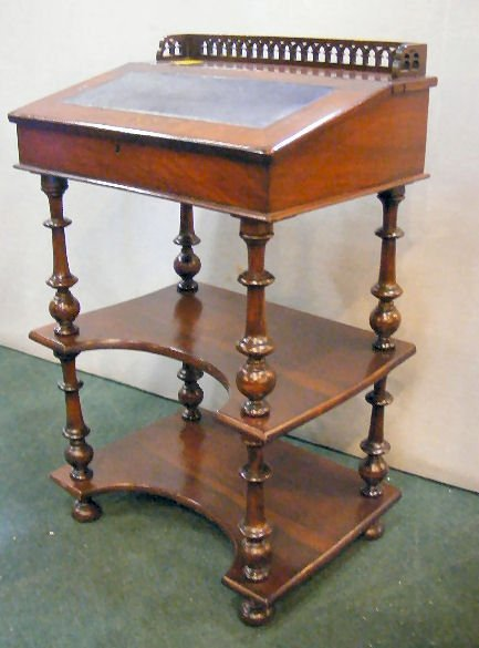 "70X: Victorian inlaid writing desk, 35"" high, 22"" wide  - 4"