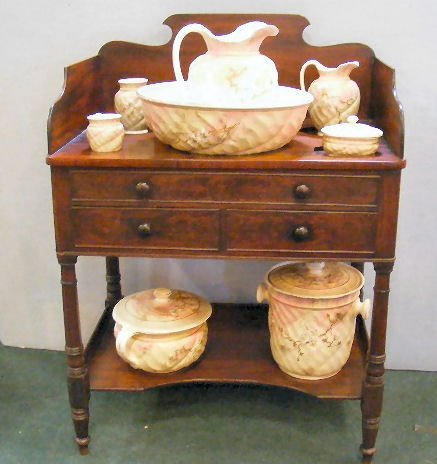 72X: Mid 19th century mahogany wash stand with two draw