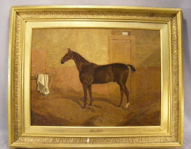 "179Q: Oil painting on canvas on horse ""Sandboy"" monogra"