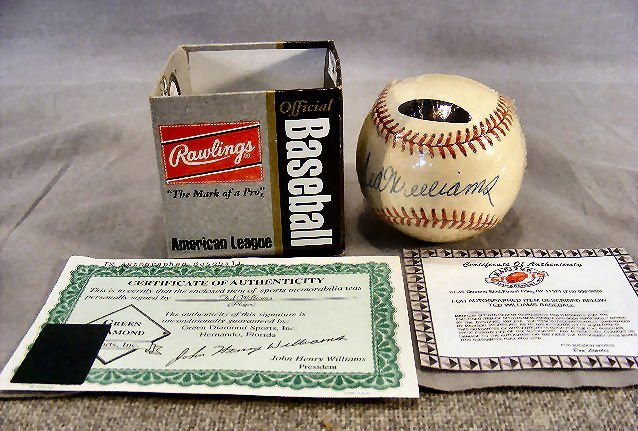 98B: Signed Ted Williams baseball, in protective cover