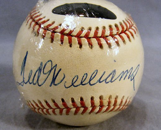 98B: Signed Ted Williams baseball, in protective cover  - 2