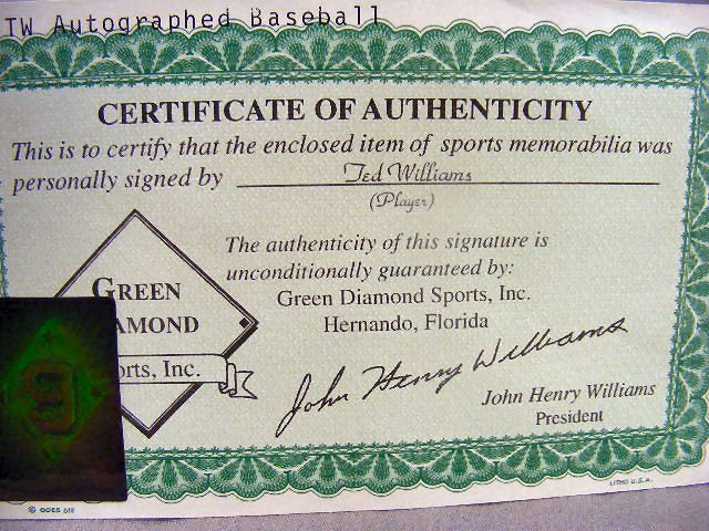 98B: Signed Ted Williams baseball, in protective cover  - 4