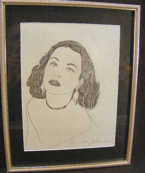 """156U: Andy Warhol graphite on paper, """"Hedy"""" a study for"""