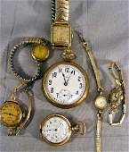 187A Lot of misc gold filled watches Elgin  Waltham