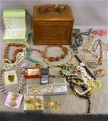 188V Lot including oriental jewelry box some damage