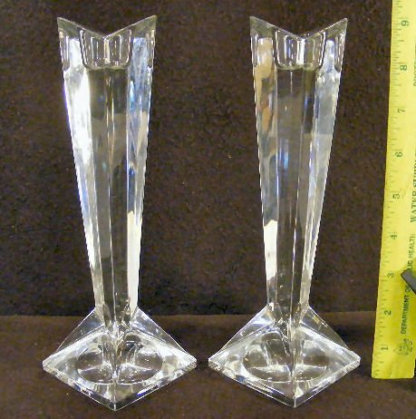 """3F: Pair of Rosenthal crystal candle holders, 9"""" high"""